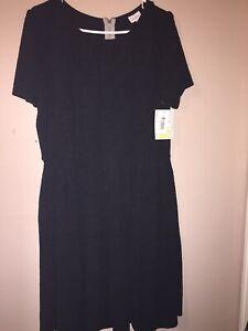 New LuLaRoe Amelia Dress Pockets -Size 3XL Pleated Solid Black 🦄 HTF NWT