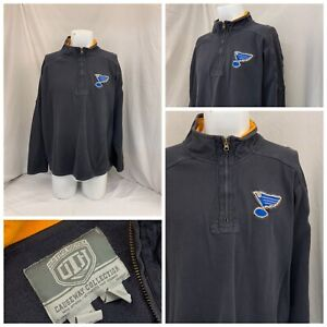 St. Louis Blues Old Time Hockey Pullover XXL Men 1/4 Zip Cotton EUC YGI Q1-155