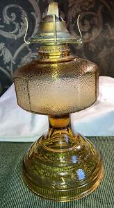 VINTAGE AMBER GLASS KEROSENE OIL LAMP