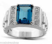 Mens Diamond Ring Blue Topaz (December Birthstone) Sterling Silver