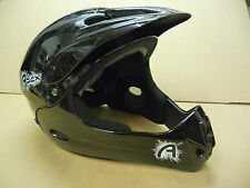 APEX Black FULL FACE Downhill Trials Boys BMX MTB Bike Youth Helmet 54-58CM