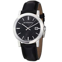 100% New Burberry BU9009 The City Black Leather Strap Check Dial Men's Watch