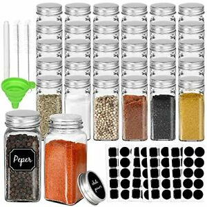 30 Pack 4oz Glass Spice Jars Bottles, Square Spice Containers with Silver