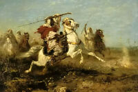 Oil painting Adolf Schreyer -  the pursuit arab horsemen in battlefield canvas