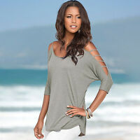 Womens Summer Tee Shirt Cold Shoulder Tops Blouse Lady Strap Loose Solid Cut Out