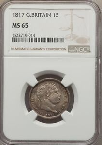 ENGLAND GEORGE III 1817 1 SHILLING SILVER COIN, UNCIRCULATED CERTIFIED NGC MS65