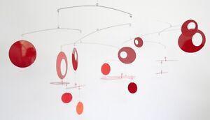 Large Red Mobile Midcentury Modern Sculpture Art hanging metal sculpture