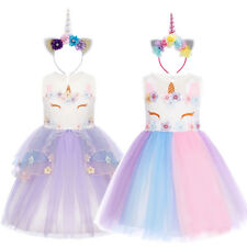 Unicorn Costume Rainbow Dress Up For Girls Halloween Cosplay Party Fancy Outfits