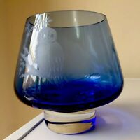 Beautiful Vintage Caithness Glass - Cobalt Blue Bowl Etched Owl On Branch