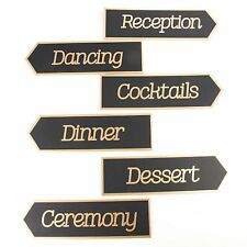 Wedding Directional Signs 6-pc. by Celebrate It Occasions Black and Gold-NEW