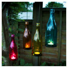 Novelty Coloured Hanging Glass Bottle Tea Light Holder Indoor Outdoor Garden