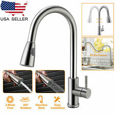 Stainless Steel Kitchen Sink Faucet Pull Out Sprayer Single Handle Mixer Tap USA