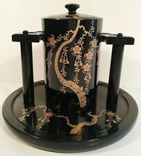 Black Laquer 1940's Smoking Stand Hand Painted Gold Decorative Paper Tag WW2