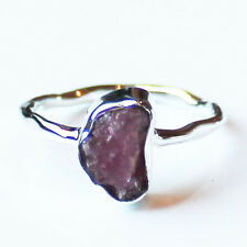 100% 925 Solid Sterling Silver Pink Tourmaline Rough Stone Ring - Size 7