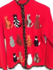 Coldwater Creek Sweater Women's Size M  Red Cat Zip Up Cat Sweater Cat Lady