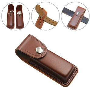 """Folding Knife Multi Tool Case Pouch 5"""" Cowhide Leather Sheath Pocket Brown New"""