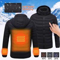 USB Gilet Chauffage Veste chauffante Manteau Vêtements Hiver Hommes Thermique FR