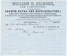 Rare Early - 1846 Billhead - Refrigerator - Gilmore - Taunton, Ma Funeral coffin