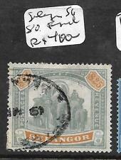 MALAYA SELANGOR  (P2704B) ELEPHANT $25.00 SG 80 FISCAL USE RARE STAMP  VFU