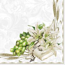Servietten Napkins Kommunion Konfirmation Buch mit weißen Lilien