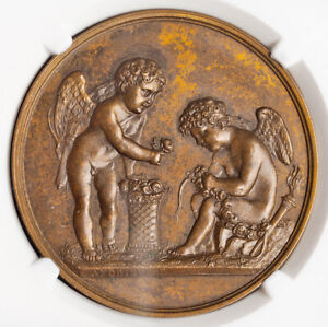 "1822, France/Denmark. ""Danish Royal Couple, Paris Mint Visit"" Medal. NGC MS-63!"
