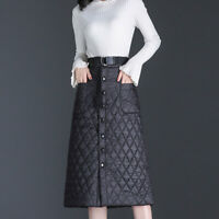 Women High Waist Down Puffer Skirt Lightly Quilted Padded A-line Dress Winter