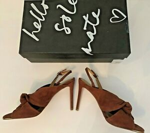 "Banana Republic 7 NIB $128 Jessa 4"" Heel Shoe Tan Suede Leather Sling Sandal NEW"