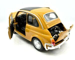 MODELLINO AUTO SCALA 1:18 FIAT NUOVA 500 GIALLO MODELLISMO COLLEZIONE EPOCA