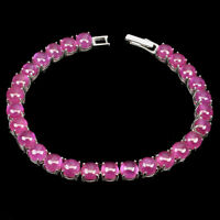 Round Red Ruby 6mm 14K White Gold Plate 925 Sterling Silver Bracelet 7.5 Inches