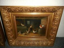Antique oil painting 1,{ Wilhelmus A. Lammers,1857 - 1913. Rooster & chickens }.