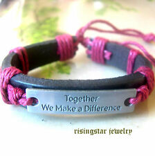 """Together We Make a Difference"" Leather Hemp Surfer Character Hip Bracelet"