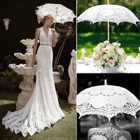 Vintage Lady Wedding Umbrella Handmade Cotton Parasol Lace Sun Umbrella Bridal