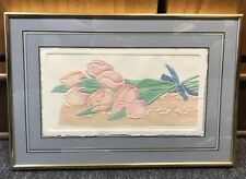 """Embossed Paper Watercolor """"Tulip And Lace"""" by Jane Billman Signed And Numbered"""