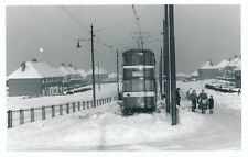 Yorks LEEDS Tram #256 at terminus in heavy snow c1960s photograph Packer