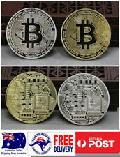 2 PCS Bitcoin Gold and Silver Plated Bronze Decorative BTC coins with Case