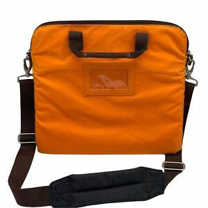 "Casauri Orange Nylon Padded Envelope Laptop Sleeve Shoulder Bag Tote  14"" x 12"""