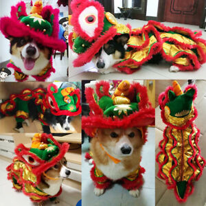 Tradition Chinese Lion Dance Costume for Pet Dog Cat Funny Dress Party Clothes