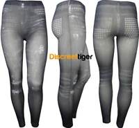 Grey Black Jeggings with Studded Print Pockets Creases and Rips Denim Activewear
