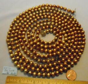 "Christmas Garland Mercury Antique Gold 98"" Long 5/16"" Beads EB72 Vintage"