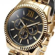 Michael Kors MK8286 Lexington Chronograph Gold-tone Black Dial Mens Watch MK8286