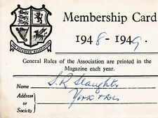 THE REFEREES MEMBERSHIP ASSOCIATION MEMBERSHIP CARD 1948-1949
