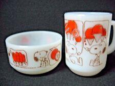 LOT 2 =1+1 SNOOPY mug + bowl = Anchor Hocking Lollipop popsicle ice cream orange
