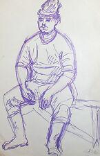 European impressionist portrait drawing signed