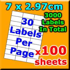 100Sheets 7x2.97cm 30 Labels Per Pg A4 Office Mailing Address Label Laser Inkjet
