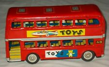 Vintage Metal Tin Friction TOYS Double Decker Bus MF 844 CLEAN and VERY NICE