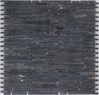 Naturstein Mosaik Marmor schwarz Wand Boden Bad Fliesenspiegel  |1Matte|ES-47383