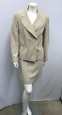 CHANEL SKIRT SET SUIT JACKET 2 TONE KHAKI NUBBY TWEED NEEDS 6 BUTTONS SIZE 6