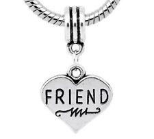 Friend Heart Best BFF Gift Word Dangle Bead fits Silver European Charm Bracelets
