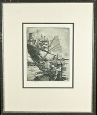 """Wharfside-Chicago"" By Kent Hagerman Signed Framed Etching 22""x18"""