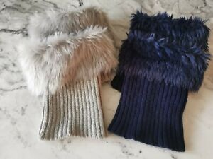 Womens Knitted Furry Boot Cuffs - Navy Blue & Grey